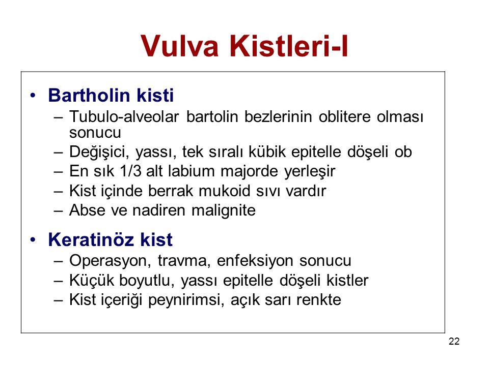 22 Vulva Kistleri-I Bartholin kisti –Tubulo-alveolar bartolin bezlerinin oblitere olması sonucu –Değişici, yassı, tek sıralı kübik epitelle döşeli ob