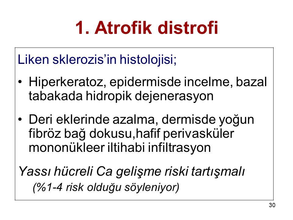 30 1. Atrofik distrofi Liken sklerozis'in histolojisi; Hiperkeratoz, epidermisde incelme, bazal tabakada hidropik dejenerasyon Deri eklerinde azalma,