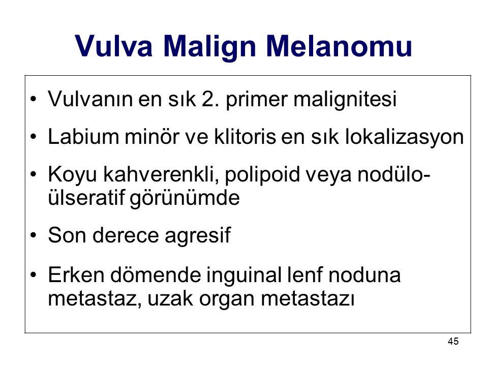 45 Vulva Malign Melanomu Vulvanın en sık 2. primer malignitesi Labium minör ve klitoris en sık lokalizasyon Koyu kahverenkli, polipoid veya nodülo- ül
