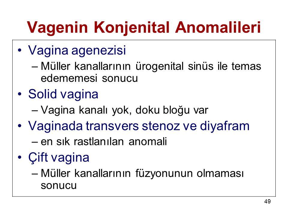 49 Vagenin Konjenital Anomalileri Vagina agenezisi –Müller kanallarının ürogenital sinüs ile temas edememesi sonucu Solid vagina –Vagina kanalı yok, d