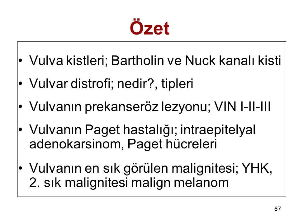 67 Özet Vulva kistleri; Bartholin ve Nuck kanalı kisti Vulvar distrofi; nedir?, tipleri Vulvanın prekanseröz lezyonu; VIN I-II-III Vulvanın Paget hast