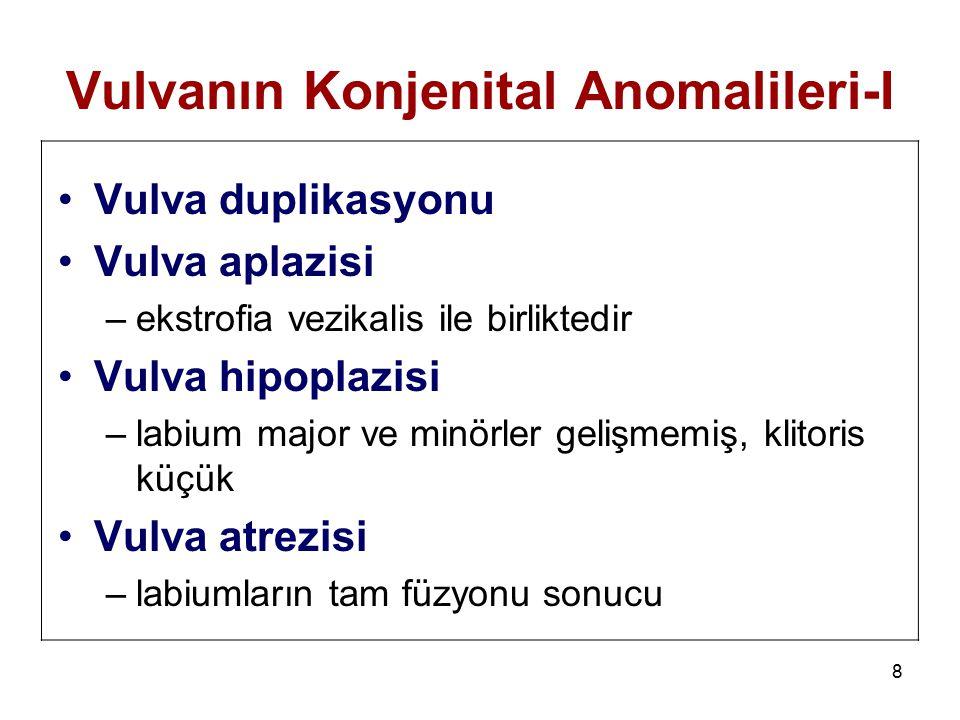 8 Vulvanın Konjenital Anomalileri-I Vulva duplikasyonu Vulva aplazisi –ekstrofia vezikalis ile birliktedir Vulva hipoplazisi –labium major ve minörler