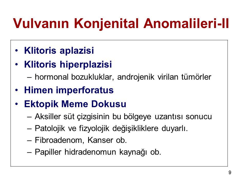 9 Vulvanın Konjenital Anomalileri-II Klitoris aplazisi Klitoris hiperplazisi –hormonal bozukluklar, androjenik virilan tümörler Himen imperforatus Ekt