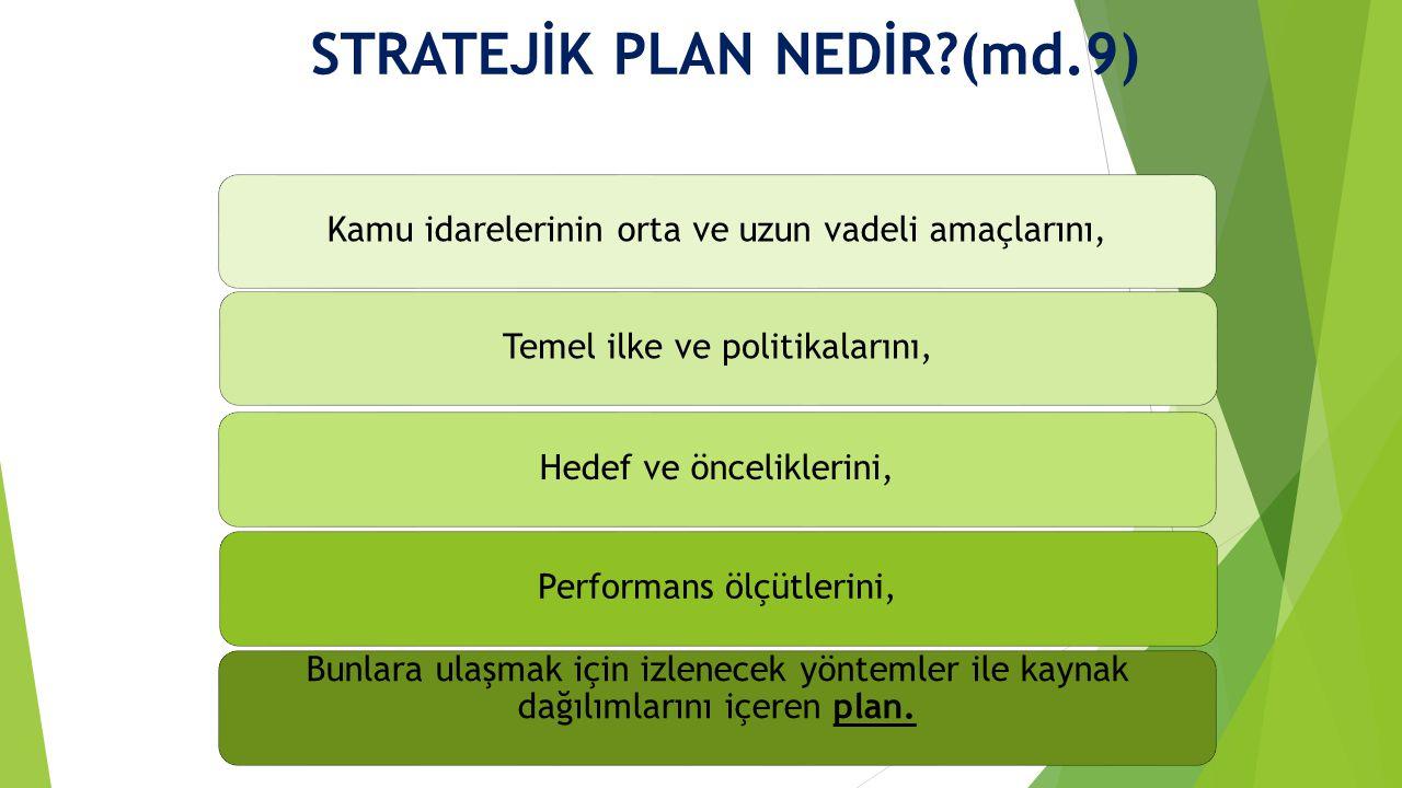 STRATEJİK PLAN NEDİR?(md.9) Kamu idarelerinin orta ve uzun vadeli amaçlarını,Temel ilke ve politikalarını,Hedef ve önceliklerini,Performans ölçütlerini, Bunlara ulaşmak için izlenecek yöntemler ile kaynak dağılımlarını içeren plan.