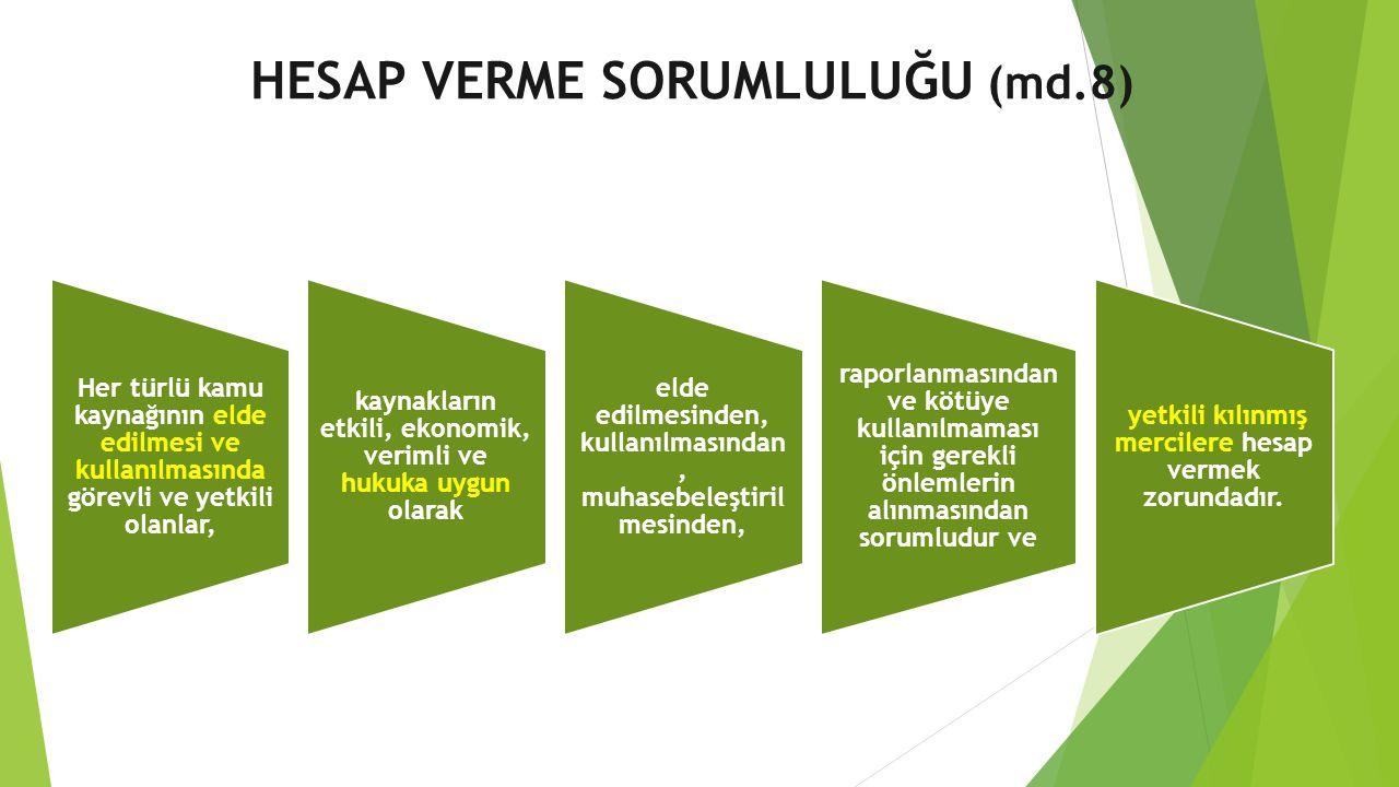 HESAP VERME SORUMLULUĞU (md.8) Her türlü kamu kaynağının elde edilmesi ve kullanılmasında görevli ve yetkili olanlar, kaynakların etkili, ekonomik, ve