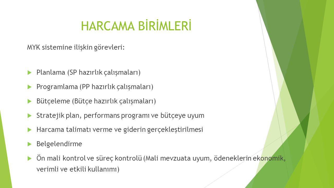 HARCAMA BİRİMLERİ MYK sistemine ilişkin görevleri:  Planlama (SP hazırlık çalışmaları)  Programlama (PP hazırlık çalışmaları)  Bütçeleme (Bütçe haz