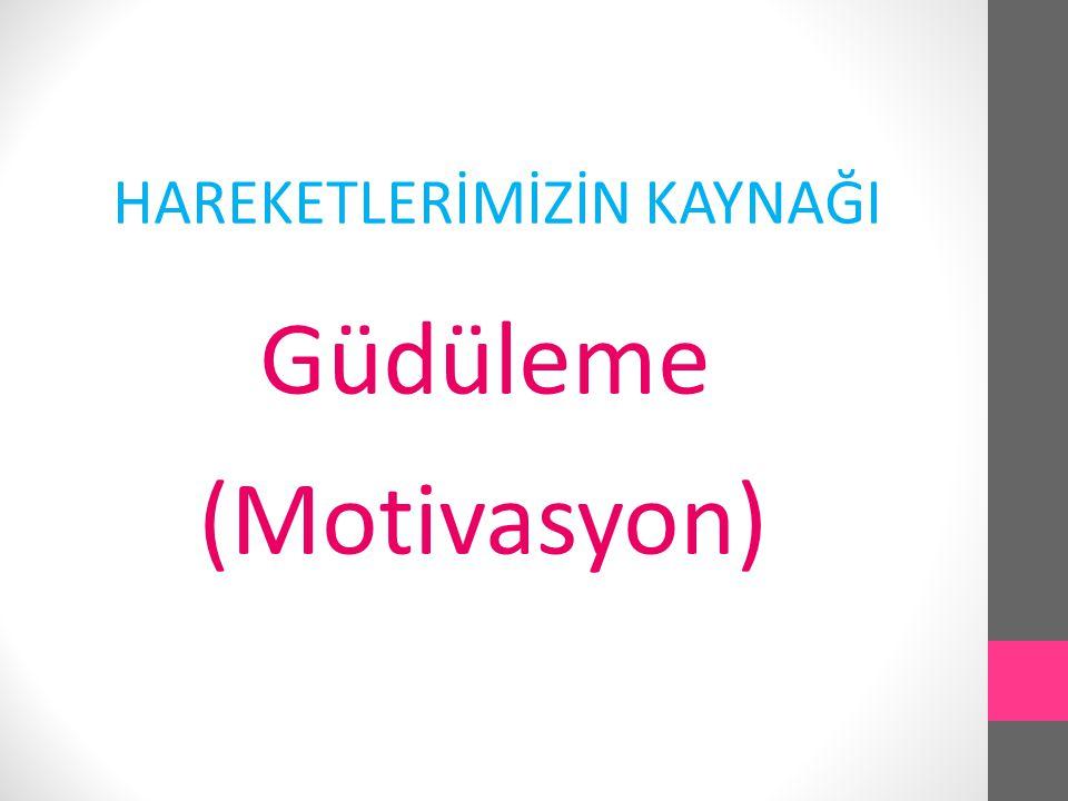 HAREKETLERİMİZİN KAYNAĞI Güdüleme (Motivasyon)