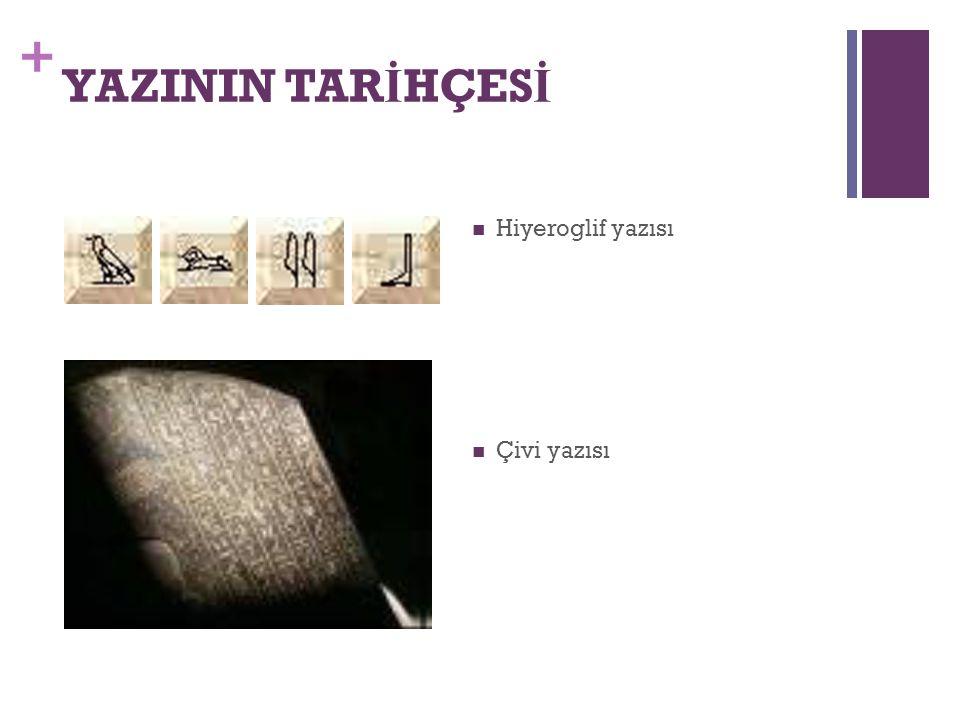 + YAZININ TAR İ HÇES İ Hiyeroglif yazısı Çivi yazısı