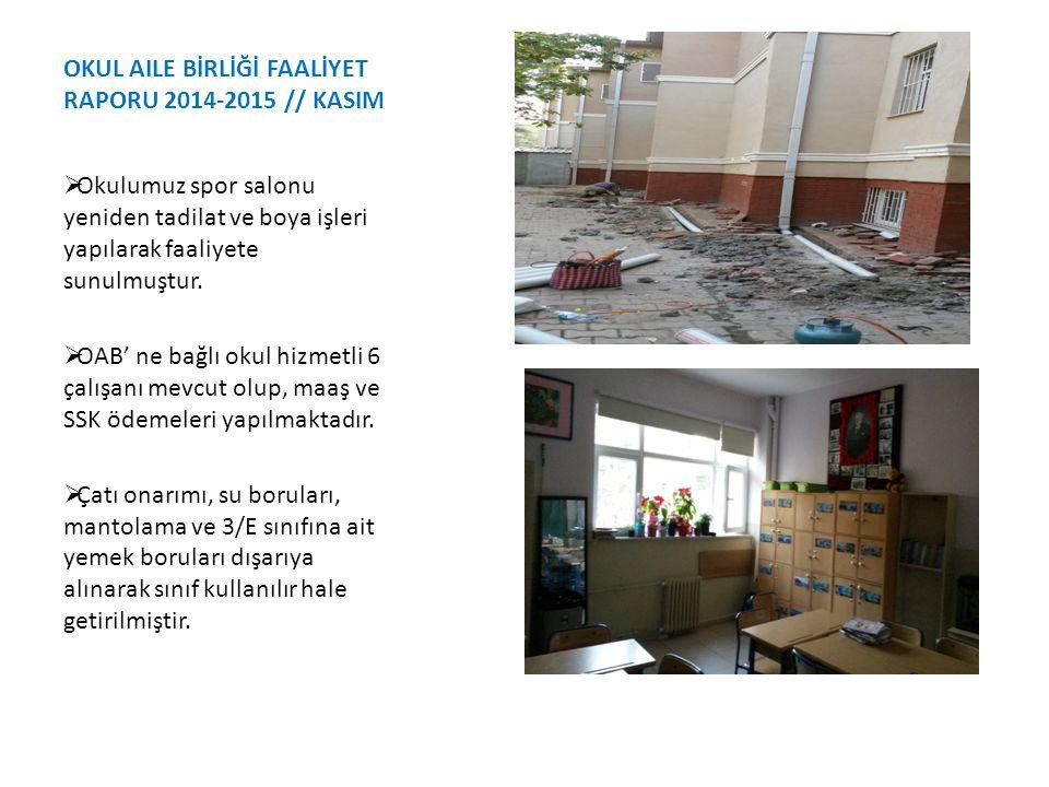 OKUL AILE BİRLİĞİ FAALİYET RAPORU 2014-2015 // KASIM  Okulumuz spor salonu yeniden tadilat ve boya işleri yapılarak faaliyete sunulmuştur.  OAB' ne