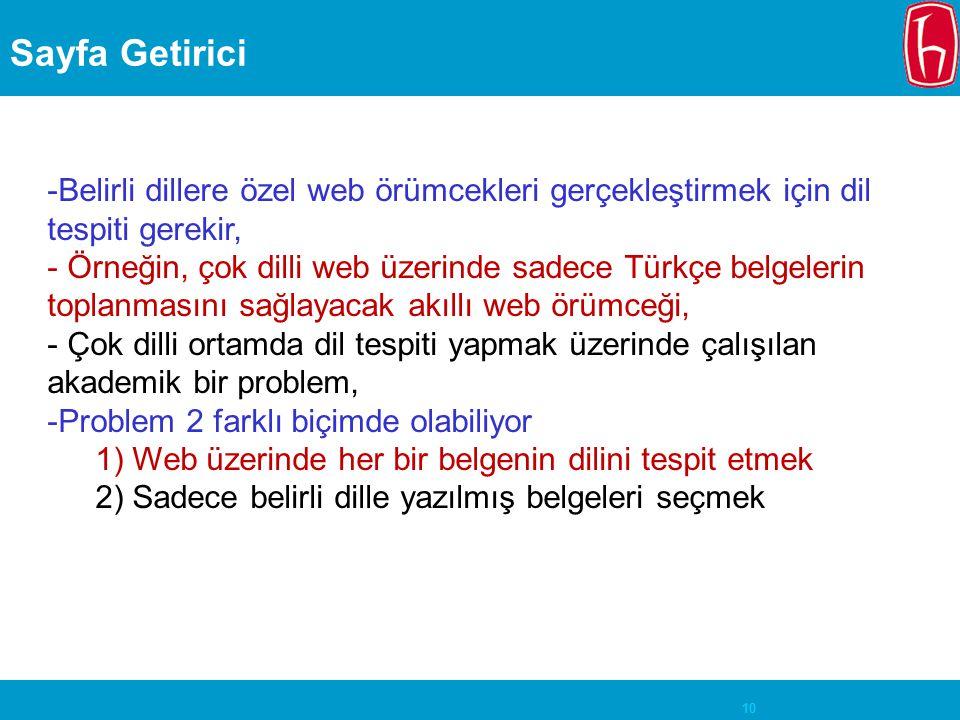10 Sayfa Getirici -Belirli dillere özel web örümcekleri gerçekleştirmek için dil tespiti gerekir, - Örneğin, çok dilli web üzerinde sadece Türkçe belg