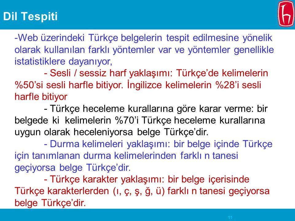 11 Dil Tespiti -Web üzerindeki Türkçe belgelerin tespit edilmesine yönelik olarak kullanılan farklı yöntemler var ve yöntemler genellikle istatistikle