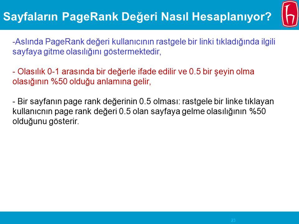 23 Sayfaların PageRank Değeri Nasıl Hesaplanıyor? -Aslında PageRank değeri kullanıcının rastgele bir linki tıkladığında ilgili sayfaya gitme olasılığı