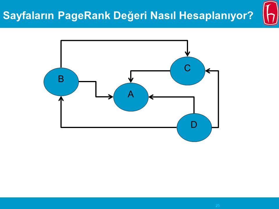 25 Sayfaların PageRank Değeri Nasıl Hesaplanıyor? A B D C