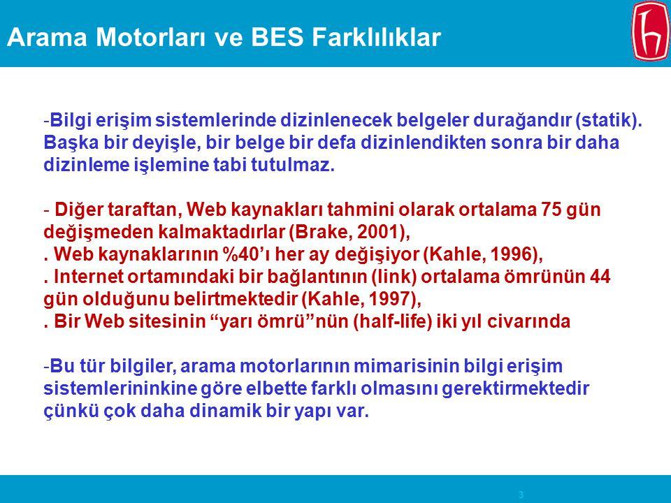 3 Arama Motorları ve BES Farklılıklar -Bilgi erişim sistemlerinde dizinlenecek belgeler durağandır (statik). Başka bir deyişle, bir belge bir defa diz
