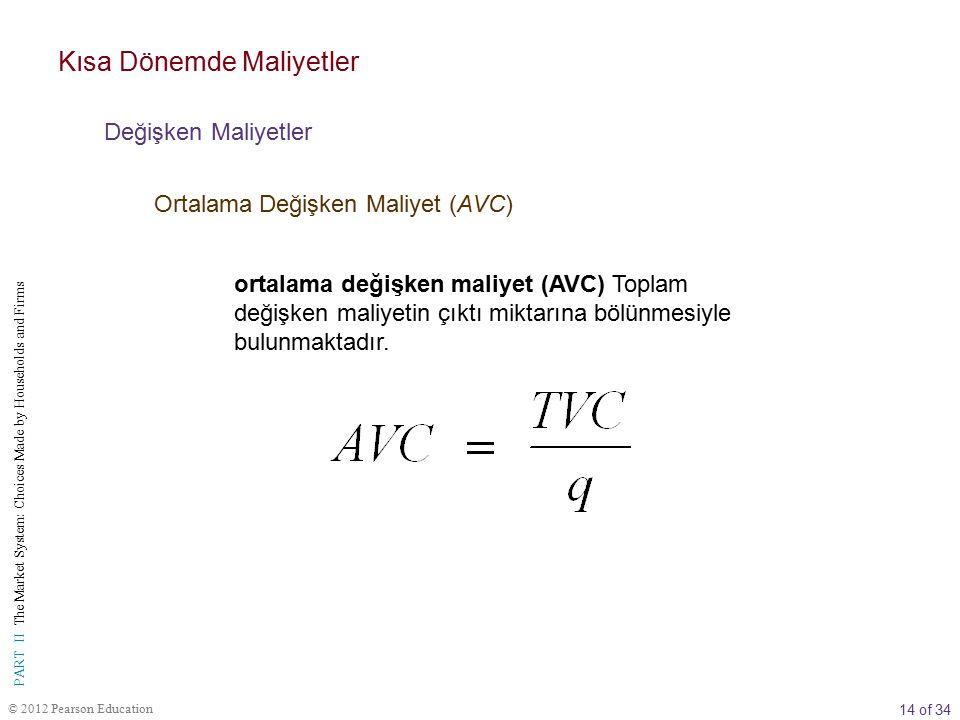 15 of 34 PART II The Market System: Choices Made by Households and Firms © 2012 Pearson Education TABLO 8.4 Varsayımsal Bir Firmanın Kısa Dönem Maliyetleri (1) q (2) TVC (3) MC (  TVC) (4) AVC (TVC/q) (5) TFC (6) TC (TVC + TFC) (7) AFC (TFC/q) (8) ATC (TC/q or AFC + AVC) 0$0$  $  $1,000$ $  $  110 1,0001,0101,0001,010 218891,0001,018500509 324681,0001,024333341 432881,0001,032250258 54210 8.41,0001,042200 208.4      5008,00020 161,0009,0002 18 Kısa Dönemde Maliyetler Değişken Maliyetler Ortalama Değişken Maliyet (AVC)