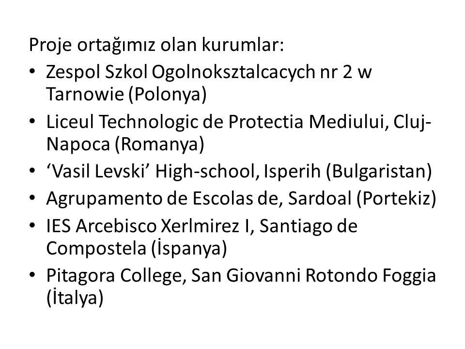 Proje ortağımız olan kurumlar: Zespol Szkol Ogolnoksztalcacych nr 2 w Tarnowie (Polonya) Liceul Technologic de Protectia Mediului, Cluj- Napoca (Romanya) 'Vasil Levski' High-school, Isperih (Bulgaristan) Agrupamento de Escolas de, Sardoal (Portekiz) IES Arcebisco Xerlmirez I, Santiago de Compostela (İspanya) Pitagora College, San Giovanni Rotondo Foggia (İtalya)