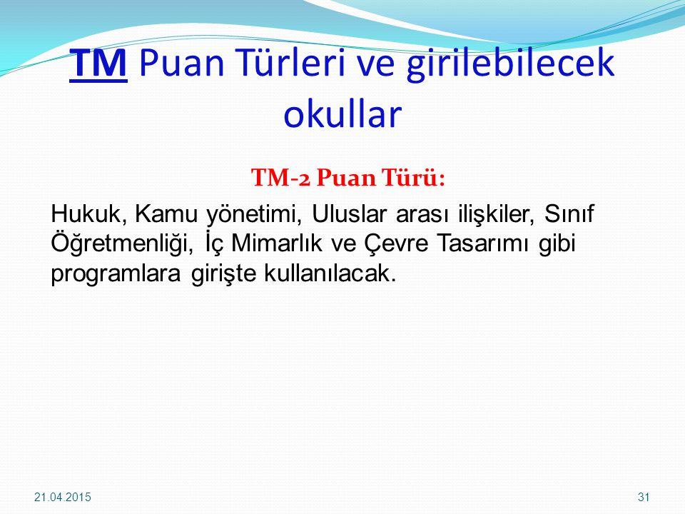 TM Puan Türleri ve girilebilecek okullar TM-2 Puan Türü: Hukuk, Kamu yönetimi, Uluslar arası ilişkiler, Sınıf Öğretmenliği, İç Mimarlık ve Çevre Tasarımı gibi programlara girişte kullanılacak.