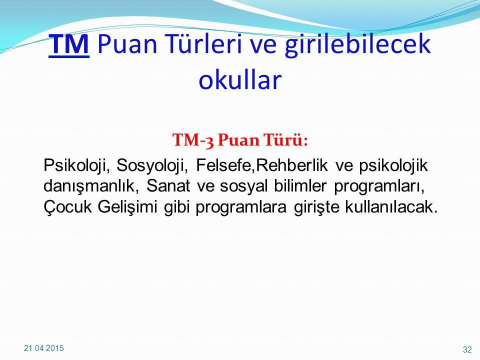 TM Puan Türleri ve girilebilecek okullar TM-3 Puan Türü: Psikoloji, Sosyoloji, Felsefe,Rehberlik ve psikolojik danışmanlık, Sanat ve sosyal bilimler programları, Çocuk Gelişimi gibi programlara girişte kullanılacak.