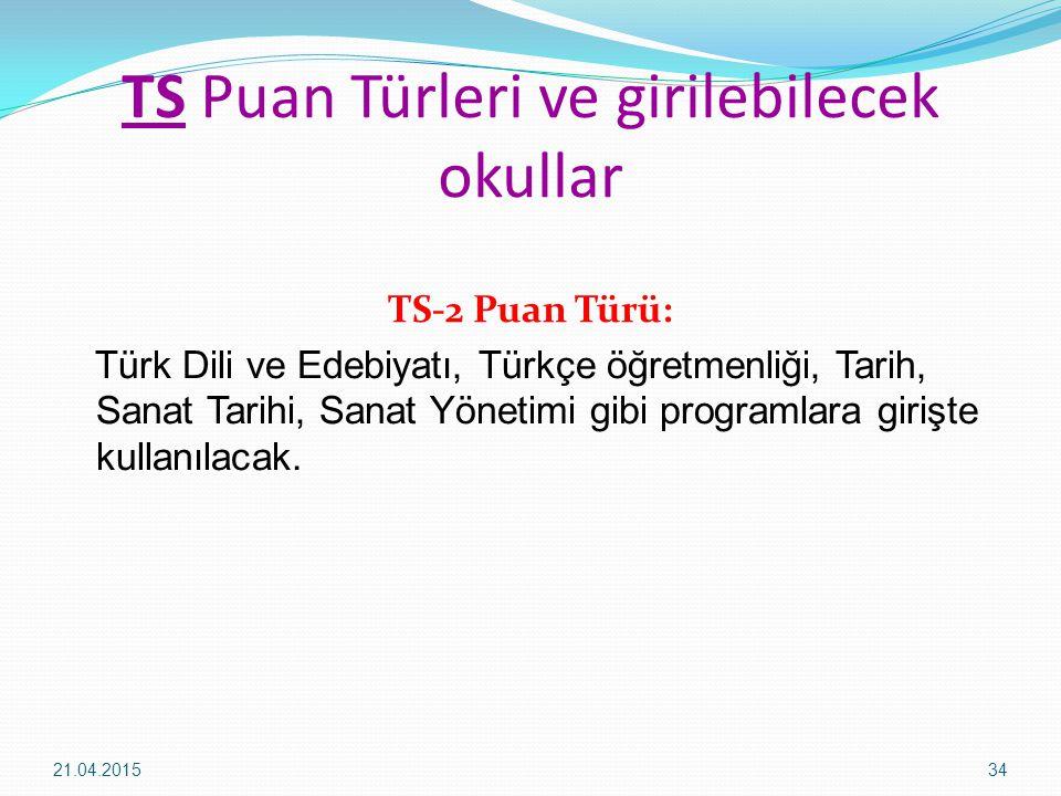 TS Puan Türleri ve girilebilecek okullar TS-2 Puan Türü: Türk Dili ve Edebiyatı, Türkçe öğretmenliği, Tarih, Sanat Tarihi, Sanat Yönetimi gibi programlara girişte kullanılacak.