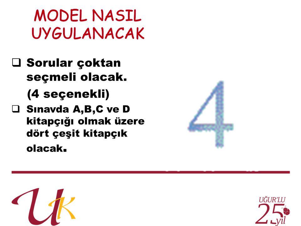  Sorular çoktan seçmeli olacak. (4 seçenekli)  Sınavda A,B,C ve D kitapçığı olmak üzere dört çeşit kitapçık olacak.