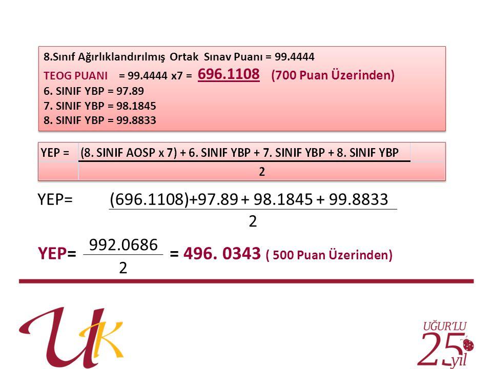 8.Sınıf Ağırlıklandırılmış Ortak Sınav Puanı = 99.4444 TEOG PUANI = 99.4444 x7 = 696.1108 (700 Puan Üzerinden) 6. SINIF YBP = 97.89 7. SINIF YBP = 98.