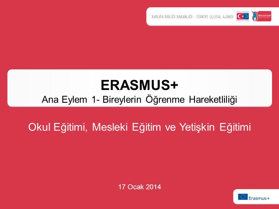 ERASMUS+ Ana Eylem 1- Bireylerin Öğrenme Hareketliliği 17 Ocak 2014 Okul Eğitimi, Mesleki Eğitim ve Yetişkin Eğitimi