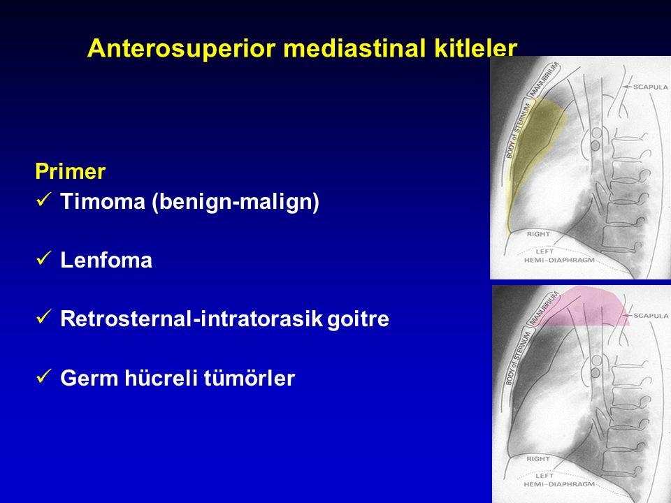 10 Anterosuperior mediastinal kitleler Primer Timoma (benign-malign) Lenfoma Retrosternal-intratorasik goitre Germ hücreli tümörler