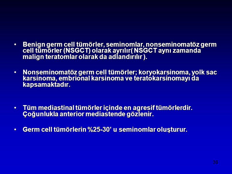 38 Benign germ cell tümörler, seminomlar, nonseminomatöz germ cell tümörler (NSGCT) olarak ayrılır( NSGCT aynı zamanda malign teratomlar olarak da adlandırılır ).Benign germ cell tümörler, seminomlar, nonseminomatöz germ cell tümörler (NSGCT) olarak ayrılır( NSGCT aynı zamanda malign teratomlar olarak da adlandırılır ).