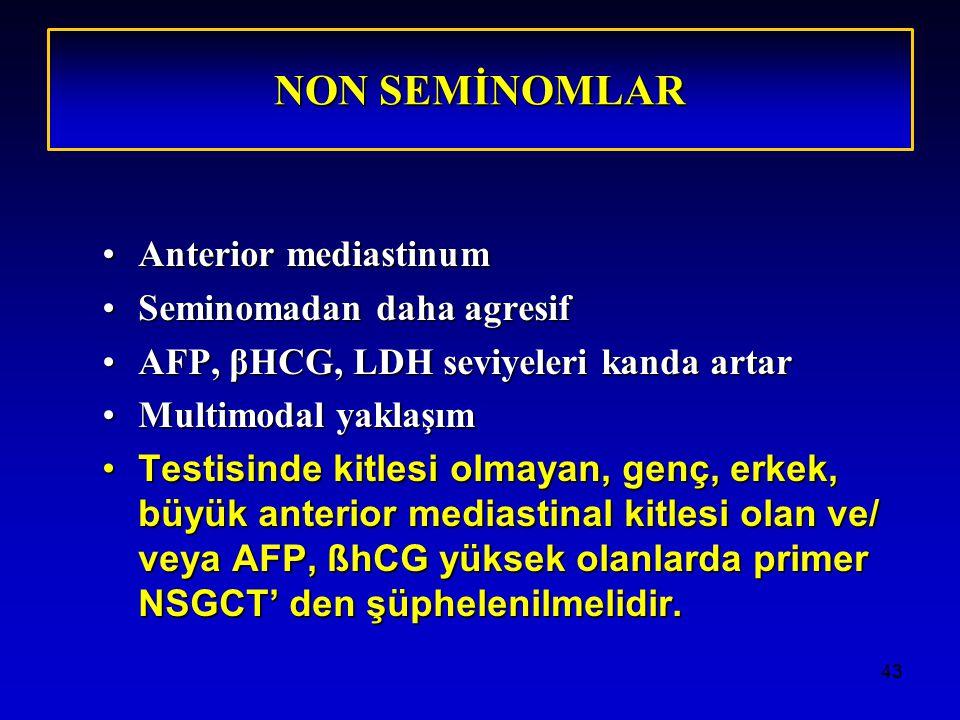 43 NON SEMİNOMLAR Anterior mediastinumAnterior mediastinum Seminomadan daha agresifSeminomadan daha agresif AFP, βHCG, LDH seviyeleri kanda artarAFP, βHCG, LDH seviyeleri kanda artar Multimodal yaklaşımMultimodal yaklaşım Testisinde kitlesi olmayan, genç, erkek, büyük anterior mediastinal kitlesi olan ve/ veya AFP, ßhCG yüksek olanlarda primer NSGCT' den şüphelenilmelidir.Testisinde kitlesi olmayan, genç, erkek, büyük anterior mediastinal kitlesi olan ve/ veya AFP, ßhCG yüksek olanlarda primer NSGCT' den şüphelenilmelidir.