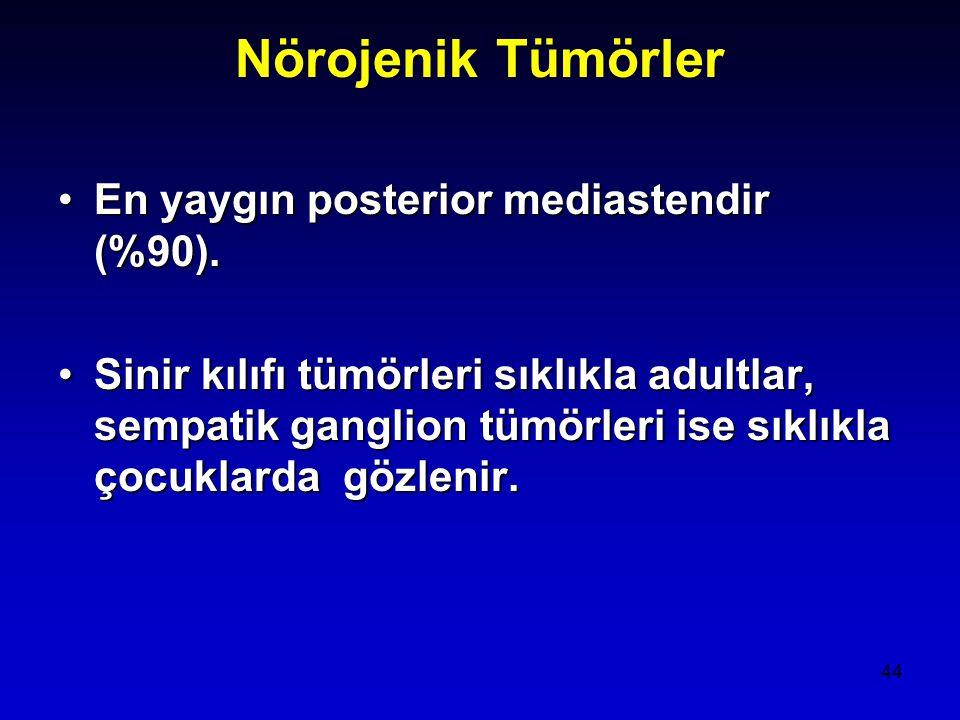 44 Nörojenik Tümörler En yaygın posterior mediastendir (%90).En yaygın posterior mediastendir (%90).
