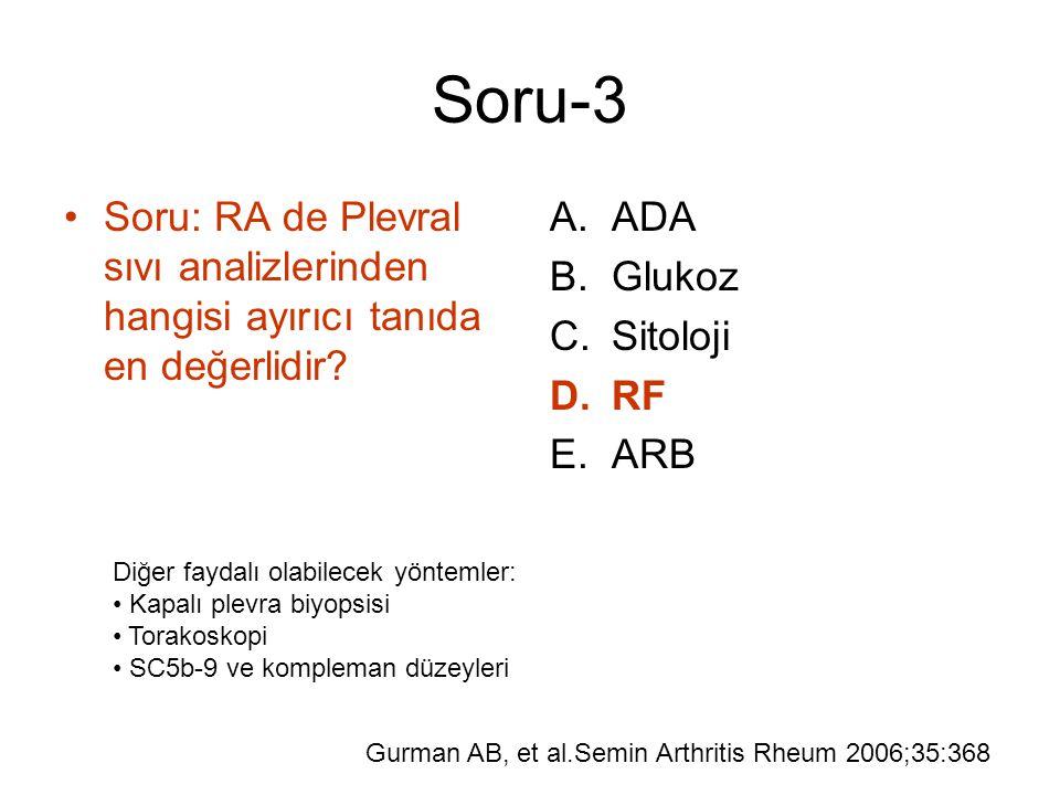Soru-3 Soru: RA de Plevral sıvı analizlerinden hangisi ayırıcı tanıda en değerlidir? A.ADA B.Glukoz C.Sitoloji D.RF E.ARB Diğer faydalı olabilecek yön
