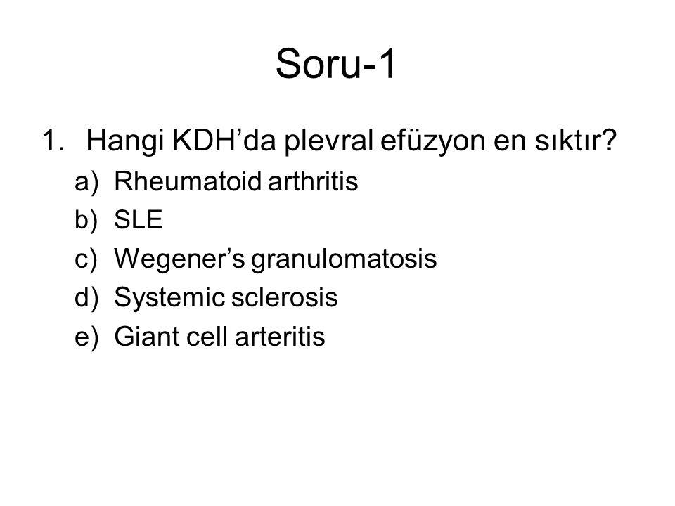 Soru-1 1.Hangi KDH'da plevral efüzyon en sıktır.