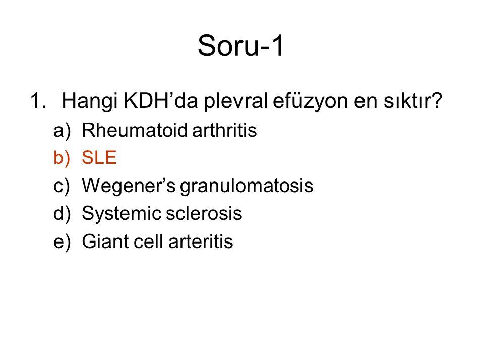 Soru-1 1.Hangi KDH'da plevral efüzyon en sıktır? a)Rheumatoid arthritis b)SLE c)Wegener's granulomatosis d)Systemic sclerosis e)Giant cell arteritis