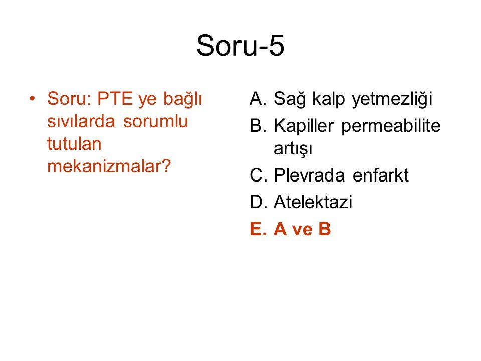 Soru-5 Soru: PTE ye bağlı sıvılarda sorumlu tutulan mekanizmalar? A.Sağ kalp yetmezliği B.Kapiller permeabilite artışı C.Plevrada enfarkt D.Atelektazi