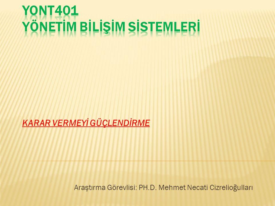 KARAR VERMEYİ GÜÇLENDİRME Araştırma Görevlisi: PH.D. Mehmet Necati Cizrelioğulları