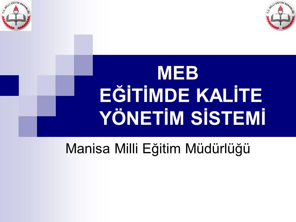 MEB EĞİTİMDE KALİTE YÖNETİM SİSTEMİ Manisa Milli Eğitim Müdürlüğü