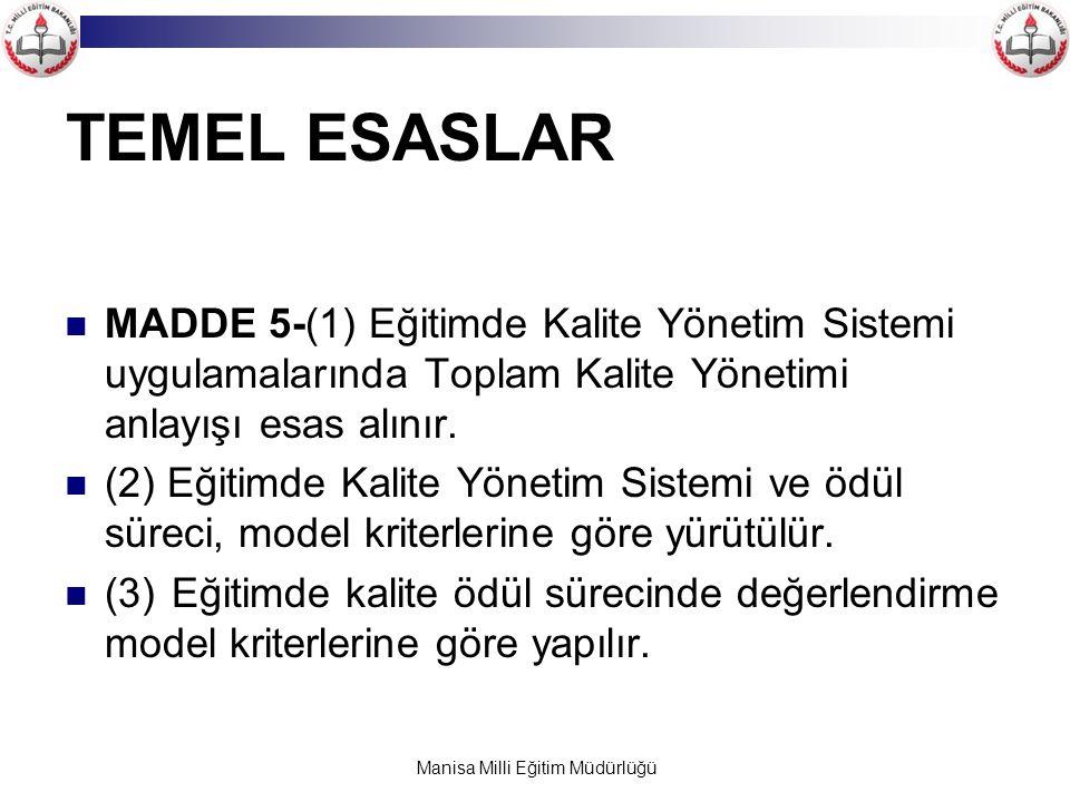 Manisa Milli Eğitim Müdürlüğü TEMEL ESASLAR MADDE 5-(1) Eğitimde Kalite Yönetim Sistemi uygulamalarında Toplam Kalite Yönetimi anlayışı esas alınır. (