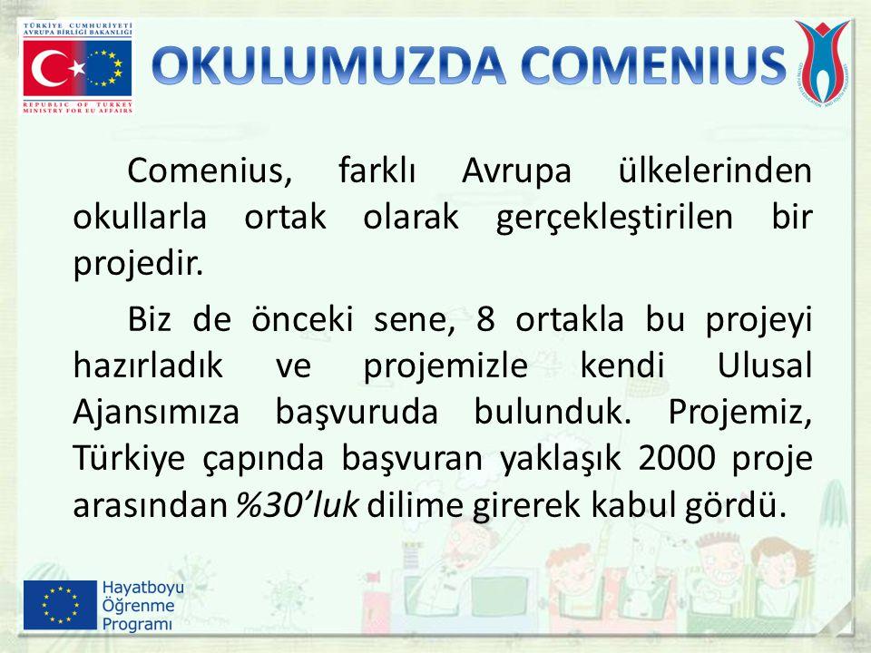 Comenius, farklı Avrupa ülkelerinden okullarla ortak olarak gerçekleştirilen bir projedir. Biz de önceki sene, 8 ortakla bu projeyi hazırladık ve proj