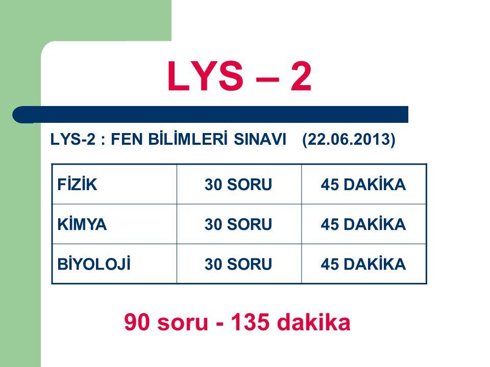 LYS – 2 LYS-2 : FEN BİLİMLERİ SINAVI (22.06.2013) 90 soru - 135 dakika FİZİK30 SORU45 DAKİKA KİMYA30 SORU45 DAKİKA BİYOLOJİ30 SORU45 DAKİKA