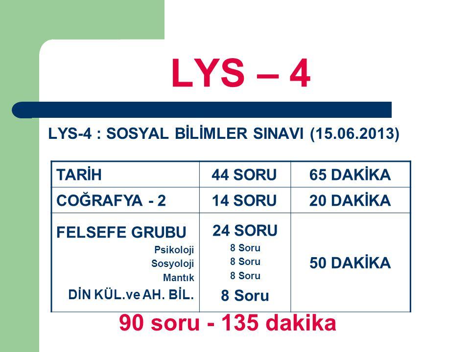 LYS – 4 LYS-4 : SOSYAL BİLİMLER SINAVI (15.06.2013) 90 soru - 135 dakika TARİH44 SORU65 DAKİKA COĞRAFYA - 214 SORU20 DAKİKA FELSEFE GRUBU Psikoloji Sosyoloji Mantık DİN KÜL.ve AH.