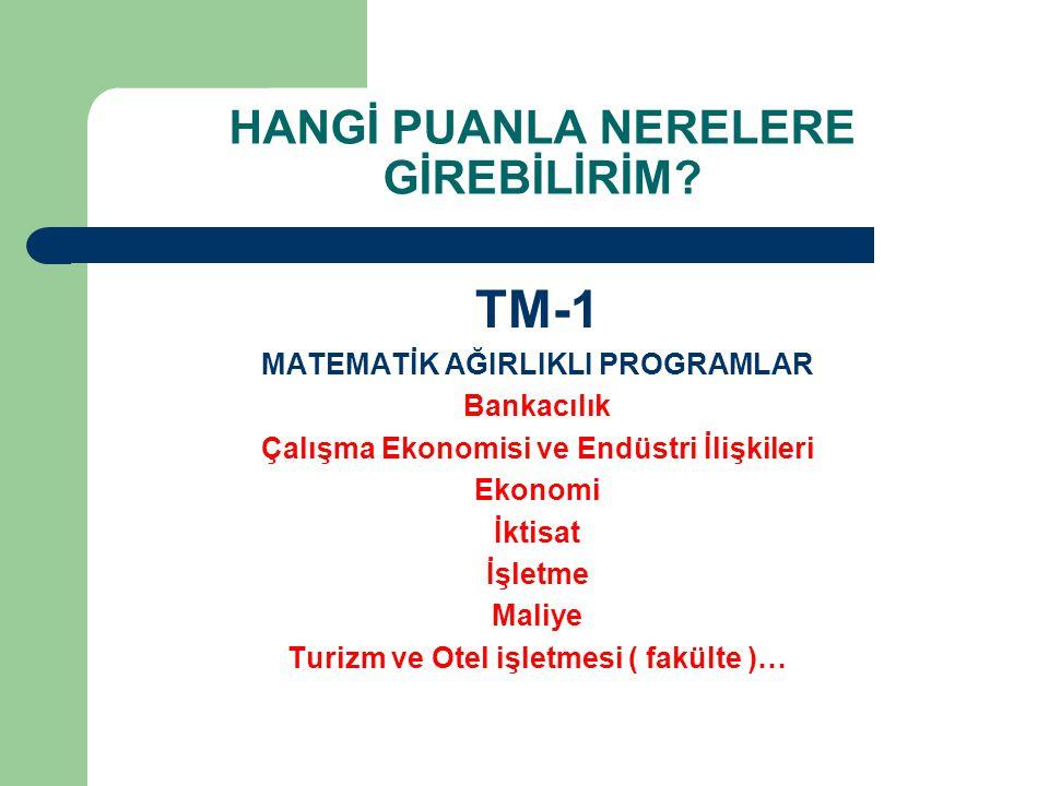 HANGİ PUANLA NERELERE GİREBİLİRİM? TM-1 MATEMATİK AĞIRLIKLI PROGRAMLAR Bankacılık Çalışma Ekonomisi ve Endüstri İlişkileri Ekonomi İktisat İşletme Mal