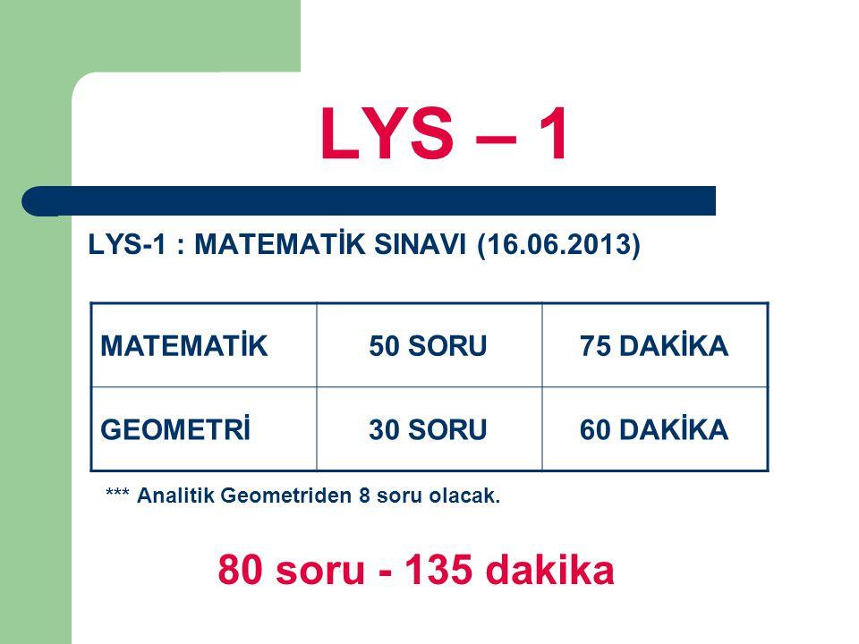 LYS – 1 LYS-1 : MATEMATİK SINAVI (16.06.2013) *** Analitik Geometriden 8 soru olacak. 80 soru - 135 dakika MATEMATİK50 SORU75 DAKİKA GEOMETRİ30 SORU60