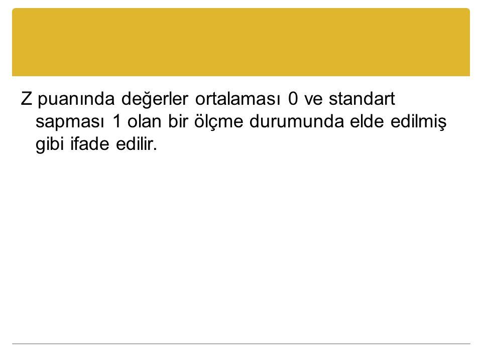 Z puanında değerler ortalaması 0 ve standart sapması 1 olan bir ölçme durumunda elde edilmiş gibi ifade edilir.