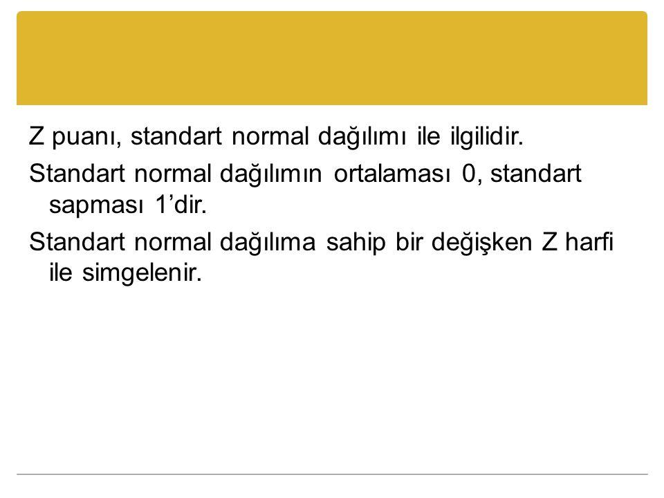 Z puanı, standart normal dağılımı ile ilgilidir. Standart normal dağılımın ortalaması 0, standart sapması 1'dir. Standart normal dağılıma sahip bir de