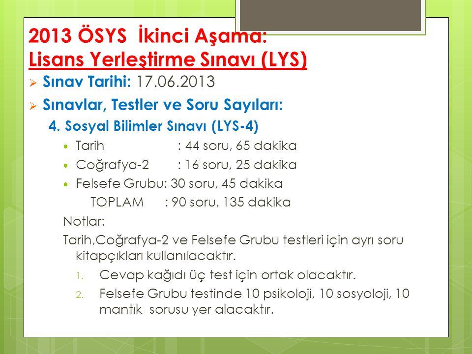 2013 ÖSYS İkinci Aşama: Lisans Yerleştirme Sınavı (LYS)  Sınav Tarihi: 17.06.2013  Sınavlar, Testler ve Soru Sayıları: 4.