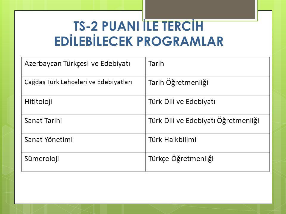 TS-2 PUANI İLE TERCİH EDİLEBİLECEK PROGRAMLAR Azerbaycan Türkçesi ve EdebiyatıTarih Çağdaş Türk Lehçeleri ve Edebiyatları Tarih Öğretmenliği HititolojiTürk Dili ve Edebiyatı Sanat TarihiTürk Dili ve Edebiyatı Öğretmenliği Sanat YönetimiTürk Halkbilimi SümerolojiTürkçe Öğretmenliği
