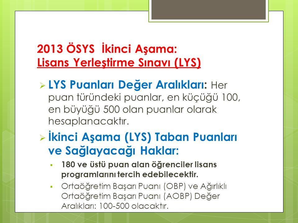 2013 ÖSYS İkinci Aşama: Lisans Yerleştirme Sınavı (LYS)  LYS Puanları Değer Aralıkları: Her puan türündeki puanlar, en küçüğü 100, en büyüğü 500 olan