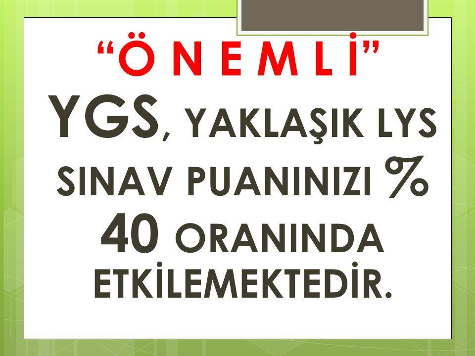 """""""Ö N E M L İ"""" YGS, YAKLAŞIK LYS SINAV PUANINIZI % 40 ORANINDA ETKİLEMEKTEDİR."""