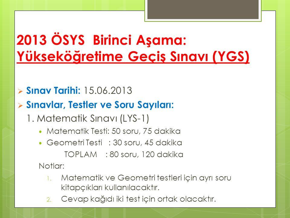 2013 ÖSYS Birinci Aşama: Yükseköğretime Geçiş Sınavı (YGS)  Sınav Tarihi: 15.06.2013  Sınavlar, Testler ve Soru Sayıları: 1. Matematik Sınavı (LYS-1