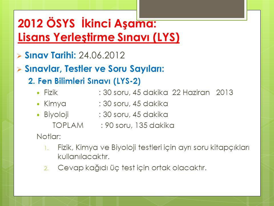2012 ÖSYS İkinci Aşama: Lisans Yerleştirme Sınavı (LYS)  Sınav Tarihi: 24.06.2012  Sınavlar, Testler ve Soru Sayıları: 2. Fen Bilimleri Sınavı (LYS-